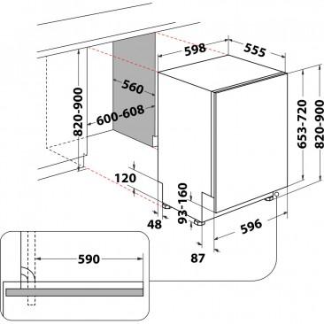 Съдомиялна за вграждане Whirlpool WIC3C33PFE - Изображение 4