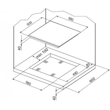 Газов плот за вграждане Hansa BHGI63100018 - Изображение 1